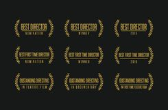Best director movie award winner vector logo set. Movie award best director feature film documentary achievement vector logo icon set Stock Photo