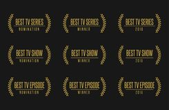 Best tv show series award nomintaion vector illustration. Movie award best tv show series nomination. Laurel vector logo icon set Stock Images