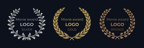 Movie award logo. Laurel golden emblems, winner reward foliage banner, show prize luxury concept. Vector golden wreath. Set royalty free illustration