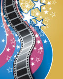 Movie Background. A movie theatre and film reel background Royalty Free Stock Photography