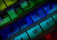 Movie Background. Movie film countdown background in various tones with faint vignette Stock Image