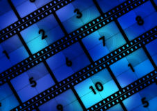 Movie Background. Movie film countdown background in blue tones Royalty Free Stock Images