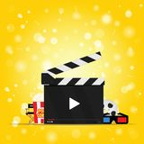 Movie background with set icon illustration. On yellow background Royalty Free Stock Images