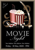 Movie banner. Popcorn box with cola and 3D glasses. Popcorn box with cola and 3D glasses on the background screen cinema. Movie poster, banner, or flyer. Vector Stock Images