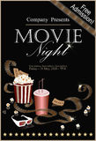 Movie banner. Popcorn box with cola and 3D glasses. Popcorn box with cola and 3D glasses on the background screen cinema. Movie poster, banner, or flyer. Vector Stock Photos