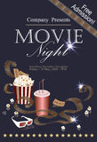 Movie banner with popcorn, folm reel, cola and 3D glasses. Popcorn box with cola and 3D glasses on the background screen cinema. Movie poster, banner, or flyer Stock Image
