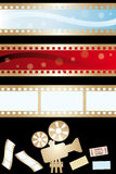 Movie banners and paraphernalia. Isolated on black - vector illustration Stock Photos