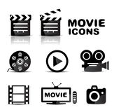 Movie black glossy icon set Royalty Free Stock Photos