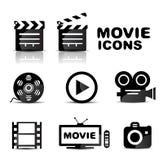 Movie black glossy icon set Royalty Free Stock Photos
