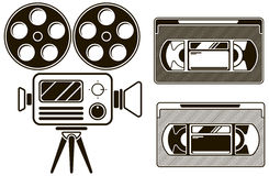 Movie black icon set on white background Royalty Free Stock Photos