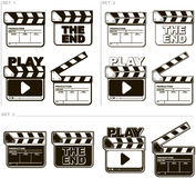 Movie black and white clapper boards set. A vector illustration of Movie black and white clapper boards set Stock Images