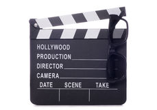 Movie board clapper with 3D glasses Stock Photography