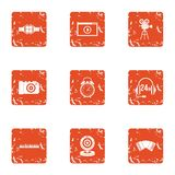 Movie call centre icons set, grunge style. Movie call centre icons set. Grunge set of 9 movie call centre vector icons for web isolated on white background Royalty Free Stock Images