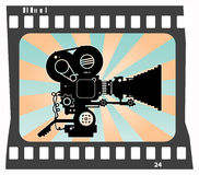Movie camera. Abstract background with movie camera, color illustration Stock Photos