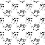 Movie camera and clapper board. Doodle vector seamless Stock Images