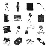 A movie camera, a floodlight, a chromakey and other equipment for the cinema.Making movie set collection icons in black Royalty Free Stock Photography