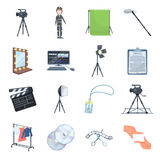 A movie camera, a floodlight, a chromakey and other equipment for the cinema.Making movie set collection icons in Royalty Free Stock Photo