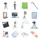A movie camera, a floodlight, a chromakey and other equipment for the cinema.Making movie set collection icons in Stock Photo