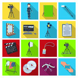 A movie camera, a floodlight, a chromakey and other equipment for the cinema.Making movie set collection icons in flat Royalty Free Stock Photos