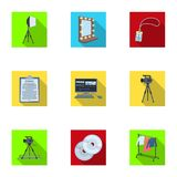 A movie camera, a floodlight, a chromakey and other equipment for the cinema.Making movie set collection icons in flat. Style vector symbol stock illustration Stock Photo