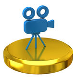 Movie Camera on gold podium Stock Photos