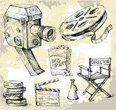Movie camera-hand drawn Stock Photo