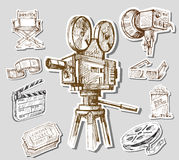 Movie camera-hand drawn Royalty Free Stock Photography