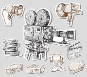 Movie camera-hand drawn Stock Images
