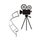 Movie camera icon. Black movie camera with curl film stripe Stock Images