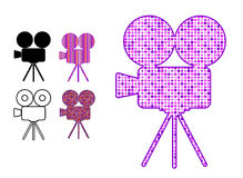Movie camera silhouette icon in patterns Royalty Free Stock Photo