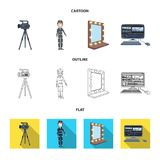 A movie camera, a suit for special effects and other equipment. Making movies set collection icons in cartoon,outline. Flat style vector symbol stock Stock Photos