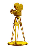 Movie camera. On a tripod in gold Stock Photo