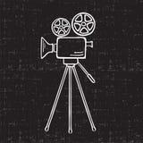 Movie Camera. Vector sketch illustration Stock Photo
