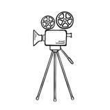 Movie Camera. Vector sketch illustration Stock Photos