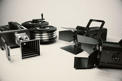 Movie camera and vintage film tools Stock Photo