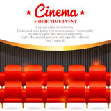 Movie card with chairs in cinema hall Stock Image