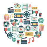 Movie card. Round card with flat movie design elements vector illustration