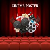 Movie chairs background. Red set cinema movie premier theater curtain concept vector background illustration royalty free illustration