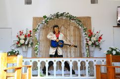USA, AZ/Apache Jct: Movie Chapel - Elvis Altar. This is the interior of a movie chapel which is located in Apache Junction, Arizona/USA. Between 1960 and 2004 it Stock Photo
