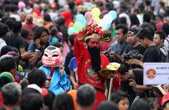 Movie character costumes. Chinese people wearing costumes movie character in the city of Solo, Central Java, Indonesia Stock Photography
