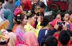 Movie character costumes. Chinese people wearing costumes movie character in the city of Solo, Central Java, Indonesia Royalty Free Stock Photos