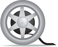 Movie cine film reel. Illustration of a mivie cinema film reel isolated on a white background Royalty Free Stock Photography