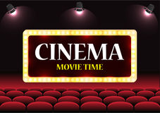 Movie Cinema auditorium with screen and red seats Royalty Free Stock Image