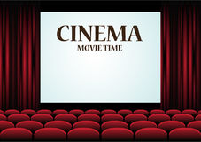 Movie Cinema auditorium with screen and red seats. Vector stock illustration