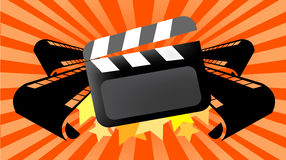Movie cinema background. Vector background illustration for cinema, hollywood, movies and home video purposes, with movie films and clapboard Stock Photography
