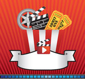 MOVIE AND CINEMA BACKGROUND ELEMENT. Red background with stripes and movie and cinema and film icons Royalty Free Stock Photos