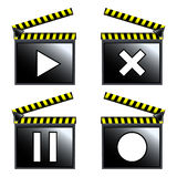 Movie cinema clapboard icons. Abstract vector art illustration Stock Images