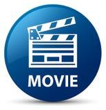 Movie (cinema clip icon) blue round button. Movie (cinema clip icon) isolated on blue round button abstract illustration Stock Image