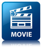 Movie (cinema clip icon) blue square button. Movie (cinema clip icon) isolated on blue square button reflected abstract illustration Stock Photography