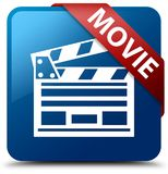 Movie (cinema clip icon) blue square button red ribbon in corner. Movie (cinema clip icon) isolated on blue square button with red ribbon in corner abstract Royalty Free Stock Photography